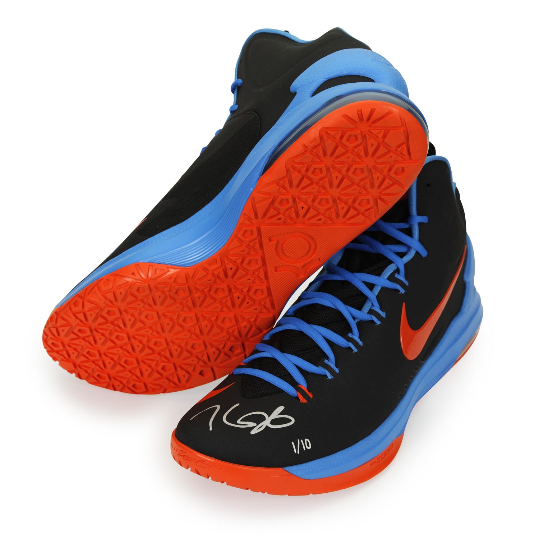 kevin durant autographed zoom v black amp orange shoes